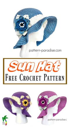 Summer Joy Sun Hat Free Crochet Pattern #freecrochetpatterns