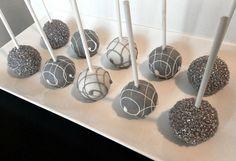Cake Pops �013 Elegant Cake Pops in Grey, Silver and White for Birthday, Bridal Shower, Wedding Favors