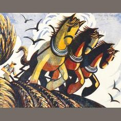 Limited Edition Fine Art Prints by relief printmaking artist Sybil Andrews. Sybil captures movement so brialliantly through her use of colour, shape and printmaking methods. Linocut Prints, Art Prints, Block Prints, Sybil Andrews, Wood Engraving, Horse Art, Art Forms, Printmaking, Pony