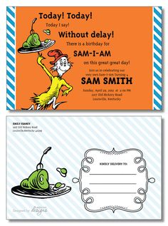 Love This Invite For Sam I Am Party