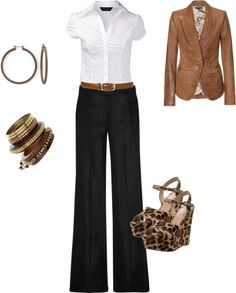 """Black & White w/ Tan"" by emerald17 ❤ liked on Polyvore"