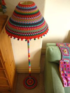 Lucy, from yarn bombing a lamp. Lucy, from yarn bombing a lamp. Crochet Motifs, Crochet Art, Crochet Crafts, Crochet Projects, Crochet Patterns, Yarn Crafts, Lampe Crochet, Crochet Lampshade, Crochet Cushions