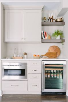 Microwave Storage, Built In Microwave Oven, Built In Ovens, Fridge Built In, Corner Microwave, Built In Cabinets, Kitchen Pantry Cabinets, Kitchen Storage, Fridge Storage