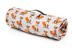 Boy Sleeping Mat, Nap Mat. Use for school, daycare, sleepovers. Foxes, Bowties, Bow Ties, Fedora Hat. Full size Brown Minky Blanket with Built in Pillow. USA Made by Elonka Nichole www.elonkanichole.com