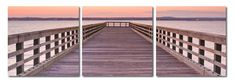 Pier Sunset Mounted Photography Print Triptych