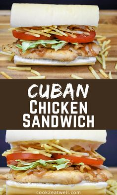 This unique chicken sandwich can be found in cafeterias and restaurants all over Miami, or you can make it at home. It is simple to make and deliciously-different than your standard chicken sandwich. Cuban Recipes, Dinner Recipes, Healthy Recipes, Cuban Chicken Sandwich Recipe, Traditional Cuban Food, Cooking For Beginners, Easy Family Dinners, Latin Food, Quick Meals