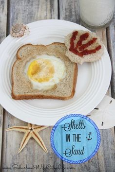 Shells in the Sand - a fun twist on eggs in a nest with Nature's Harvest® Bread #ad
