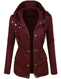 makeitmint Women's Zip Up Military Anorak Jacket w/ Hood ...