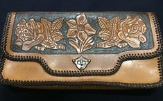 Vintage Berman's Mod Leather Brown Clutch Wrist Handbag Purse Hippie Boho in Clothing, Shoes & Accessories, Vintage, Vintage Accessories Vintage Accessories, Clutch Purse, Leather Clutch, Hippie Boho, Continental Wallet, Hand Carved, 1970s, Zip Around Wallet, Carving