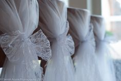 Stunning chair covers made from wedding veiling and lace ribbon by 'Krysta Monopoli Wedding Design' at www.krystamonopoli.com. Photographs '(c) Danish Apple Photography 2013'  www.danishapple.com/