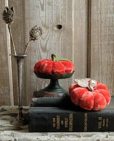 Upcycled velvet pumpkins add a warm and fuzzy touch.