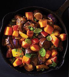 Eggplant & Sweet Potato Stir-Fry (japanese eggplant, sweet potato, yellow pepper, scallion, garlic, plum tomato, basil)