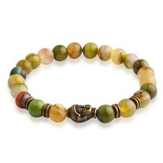Tiger Eye Beads Bracelet Buddha Head Yoga Jewerly Natural Stone Bangle