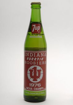 After winning the 1976 NCAA championship, the Hoosiers were given their own bottle. I have this bottle. Indiana Girl, Indiana State, Indiana University, Final Four Basketball, Indiana Basketball, Basketball Court, Bobby Knight, Iu Hoosiers, Sports Advertising