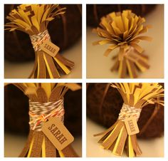 Simply strips of paper to resemble wheat for decoration or placecards for the Thanksgiving table.