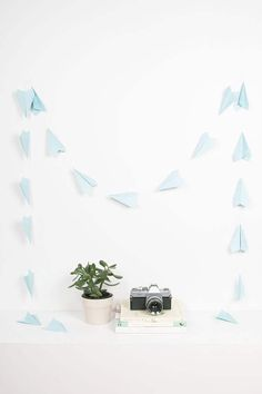 Light Blue Paper Airplane Garland   Party Decor Paper Airplanes   Folded Planes   Classic Planes   Travel Theme Party   Travel Theme Garland