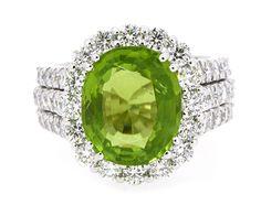 Ring Cushion Shape Center Peridot 6.97ct. (70) Round Diamonds 2.51ct.tw 18K…