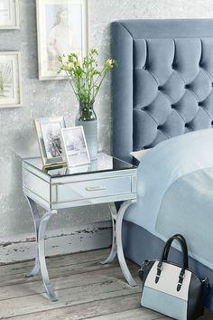 Table de chevet AURELIA miroir & chrome