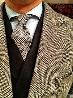 Glen Plaid Suit, Black Cashmere V Neck Sweater, and Glen Plaid Tie. Men's Fall Winter Fashion.