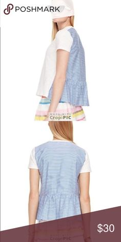 """Kate Spade Broome Street tee Medium Kate Spade Broome Street tee Womens Size Medium Blue + White Short sleeve Top  Bust flat about: 18.5"""" Length about: 23"""" Sleeves about: 6.5"""" Smoke Free home kate spade Tops Tees - Short Sleeve"""