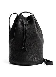 607617262a BAGGU Drawstring Leather Purse - Black  The perfect bucket bag in supple