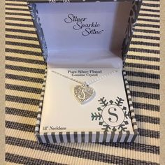 "Gorgeous Little ""S"" Initial Necklace Pure silver plated genuine crystal, 18"" necklace. New in box. This was purchased at a retail store the price is listed for $42. Silver Sparkle Shine Jewelry Necklaces"