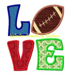 LOVE Football Machine Embroidery Applique Design - Whimsical Embroidery Designs