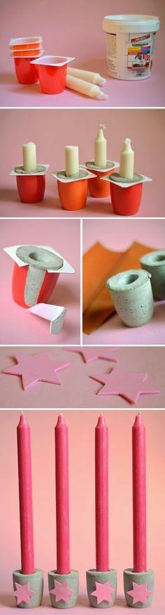 Facile à réaliser ces bougeoirs en béton seront du plus belle effet. Préférez des moules en plastique faciles à retirer comme les pots de y...