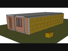 shipping container and straw bale insulation