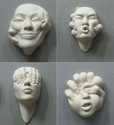 ceramic sculptures by Johnson Tsang, a sculptor based in Hong Kong who focuses on ceramics, stainless steel sculptures and public art projects. Steel Sculpture, Pottery Sculpture, Ceramic Sculptures, Human Sculpture, Sculpture Ideas, Johnson Tsang, Clay Faces, Public Art, Clay Crafts