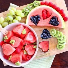 Healthy valentine's day treat. Adorable heart cut-out fruit snack idea.