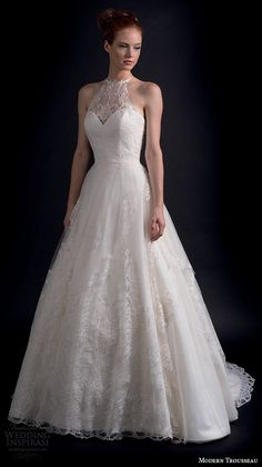 modern trousseau fall 2016 bridal gowns beautiful a line wedding dress halter neck lace embroidery style courtney