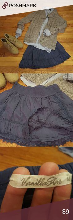 Cute indigo skirt Double-layered w/ elastic waist & really pretty crochet accents. Only worn once. Skirt may also be purchased as an outfit w/ the other pieces shown in this picture at a discounted price. Ask for details! Vanilla Star Skirts Midi