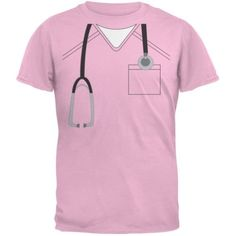 Halloween Doctor Scrubs Costume Light Pink Youth T-Shirt - Youth Large, Girl's