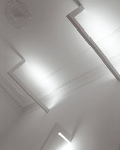 L C/W by David Abad for B.lux, ceiling lamp in white finish for indirect light _