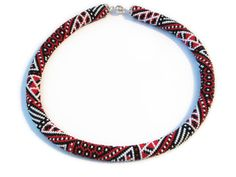 Patchwork crochet beaded rope necklace - Geometric pattern - Seed beads jewelry - Red, white, black - Beadwork necklace - Gift for her