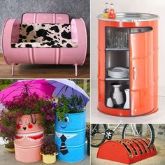 recycling ideas for metal drums Cute Furniture, Recycled Furniture, Reuse Recycle, Upcycle, Recycle Metal, Reduce Reuse, Do It Yourself Decoration, Barris, 55 Gallon Drum