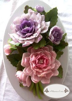 W Fine Porcelain China Diane Japan Key: 3976083024 Polymer Clay Projects, Diy Clay, Polymer Clay Art, Clay Crafts, Polymer Clay Flowers, Ceramic Flowers, Sugar Flowers, Paper Flowers, Clay Wall Art