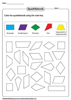 Coloring Quadrilaterals Geometry Worksheets, Math Worksheets, Preschool Learning Activities, Teaching Math, Introduction To Geometry, Quadrilateral, Teaching Babies, Math Education, Math For Kids