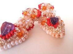 Chandelier earrings beaded gemstone bridesmaid jewelry by iluztro, $32.00