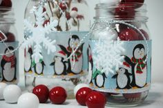 Holiday Words Christmas decor set of 3 by PineknobsAndCrickets Christmas Jars, Christmas Holidays, Christmas Decorations, Jar Of Notes, Holiday Words, Pine Branch, All Tied Up, Jingle Bells, Table Centerpieces