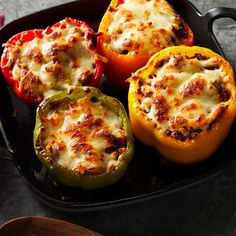 Cauliflower Rice-Stuffed Peppers Recipe - EatingWell Slash the calories and carbs of traditional stuffed peppers by swapping white rice for cauliflower Rice Recipes, Low Carb Recipes, Cooking Recipes, Healthy Recipes, Recipies, Healthy Food, Protein Recipes, Healthy Appetizers, Healthy Dinners