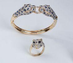 Conjunto de ouro amarelo e safiras azuis, com 2,30ct de brilhantes e 47,6g (sendo o anel com 1,50ct