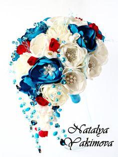 Brooch Bouquet, Bouquet Cascade, Bridal Bouquet, Wedding Bouquet, Silk Bouquet, Fabric Bouquet, Unique Bouquet, ivory, turquoise, red