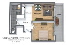 Floorplan of a one bedroom apartment No. 52 in Ostrovni 7 Apartments, Prague.