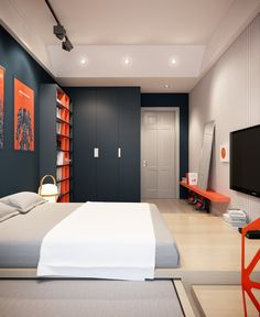 Apartments:Stunning Boys Bedroom Design Decorating Ideas With Single Bed Plus White Bedding Along With Dark Cupboard Also Dark Plus Orange Open Shelving And Painting Also Sleek Television And Laminate Floor Remarkable Apartment Design: Amazing Apartment Decorating Ideas with Classic Stylish
