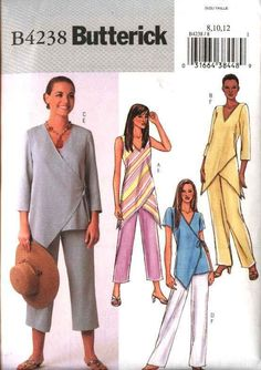 Sewing Blusas Butterick Sewing Pattern 4238 Misses Size Easy Pullover Wrap Front Top Loose Tunic Pants - Sewing Patterns Free, Clothing Patterns, Dress Patterns, Butterick Sewing Patterns, Coat Patterns, Diy Clothing, Sewing Clothes, Sewing Coat, Sewing Pants