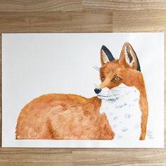 Fox watercolour painting - nursery art, sweet animal art. Instagram: @elizarose_art Facebook: @artofelizarose Nursery Paintings, Nursery Art, Fox Watercolour, Corgi, Facebook, The Originals, Rose, Sweet, Artist