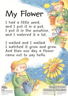 Child caring for a flower. Preschool Poems, Kids Poems, Preschool Learning, Preschool Activities, Teaching, English Stories For Kids, English Lessons For Kids, English Poems For Children, Poem English