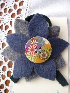 recycled felt flower brooch £6.00